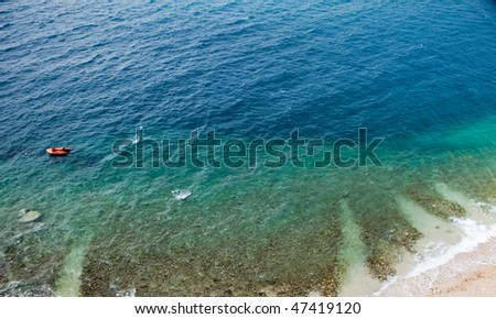 An aerial view of a beach and ocean - background texture
