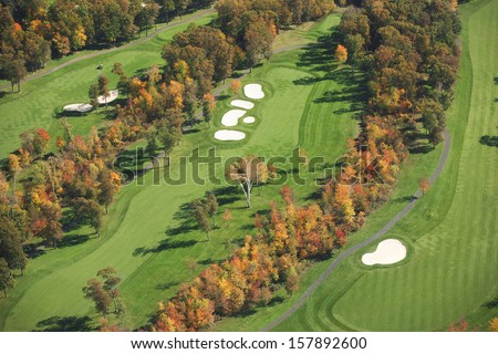 An aerial view of a golf course in Minnesota during autumn