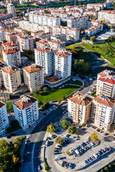 An aerial view of a modern residential district in northern Lisbon with modern buildings in Lisbon outskirts, Bobadela, Portugal