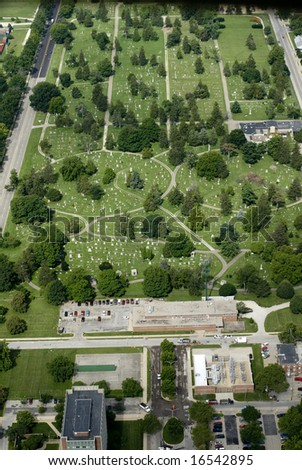 An aerial view of a private burial ground.