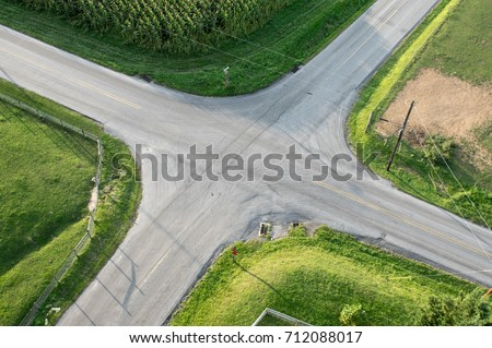 An aerial view of a road intersection.