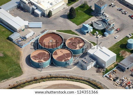 An aerial view of a sewage treatment facility