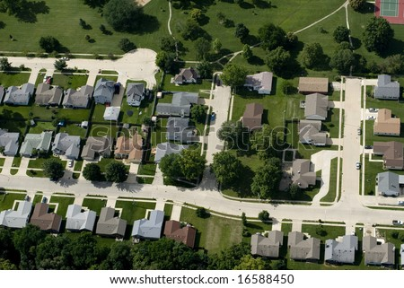 An aerial view of a suburban landscape.