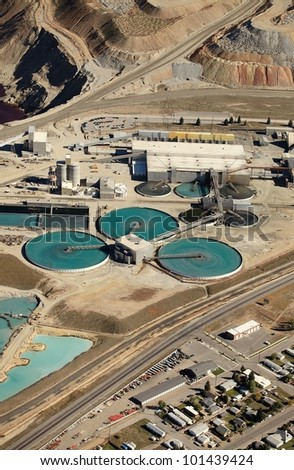 An aerial view of a water treatment facility at a copper mine