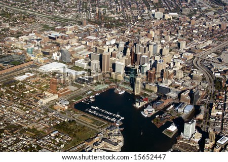An aerial view of Baltimore Maryland and the Inner Harbor.