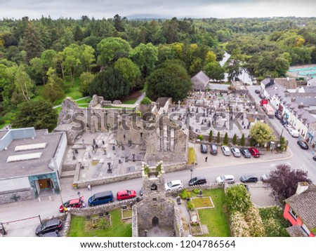 An aerial view of  Cong Abbey in the village of Cong, straddling the County Galway and County Mayo borders in Ireland.