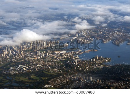 An aerial view of downtown Sydney, Australia.