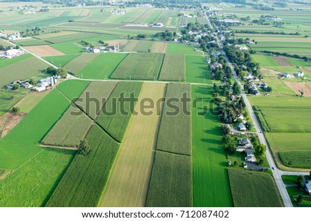 An aerial view of farmland in Lancaster County, Pennsylvania. #712087402