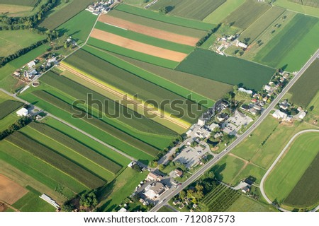 An aerial view of farmland in Lancaster County, Pennsylvania. #712087573