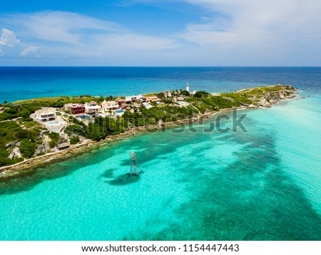 An aerial view of Isla Mujeres in Cancun, Mexico Foto stock ©