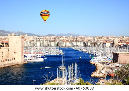 an aerial view of Marseille City and its harbor France