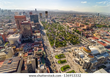 An aerial view of Mexico City and the Palace of Fine Arts