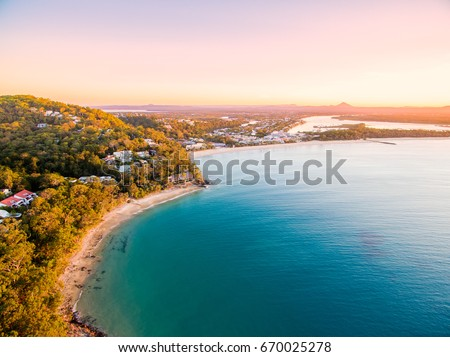 An aerial view of Noosa National Park at sunset in Queensland Australia