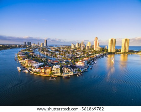 An aerial view of Paradise Waters; a luxury Gold Coast suburb in Queensland, Australia