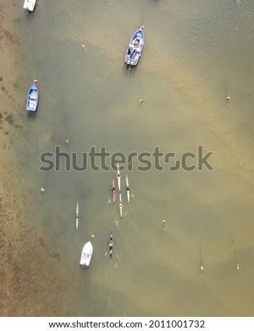 An aerial view of people doing kayak along Mira River in Vila Nova de Milfontes, Alentejo region Сток-фото ©