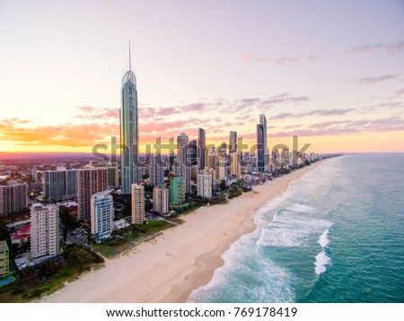 An aerial view of Surfers Paradise on the Gold Coast in Queensland, Australia at sunset