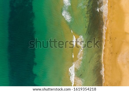 An aerial view of the Beach and Shoreline, on a wintry day Creates an abstract image Stock photo ©