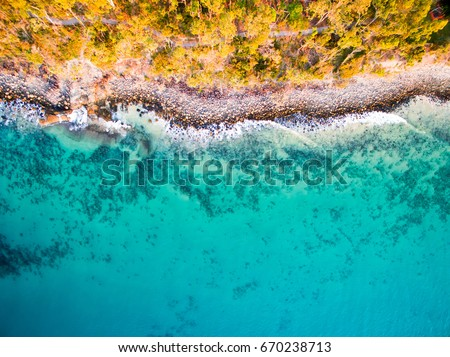 An aerial view of the beach at Noosa on a clear day on the Sunshine Coast in Australia #670238713
