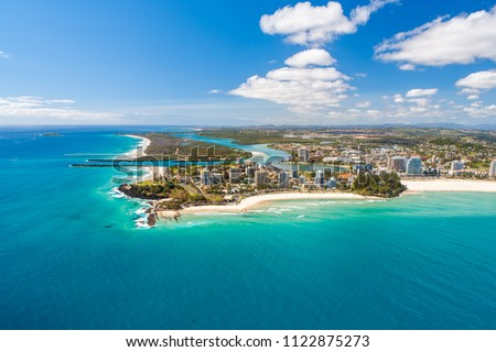An aerial view of the beach at snapper Rocks and Coolangatta on the Gold Coast in Queensland, Australia