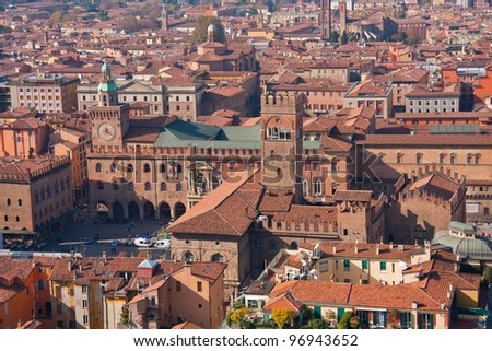 An aerial view of the Bologna city center, Piazza Maggiore