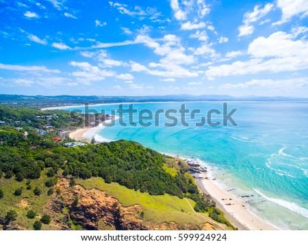an aerial view of the byron bay ...