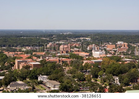 An aerial view of the campus of Florida State University looking west as seen from the 22nd floor of the Florida State Capital Building in Tallahassee.