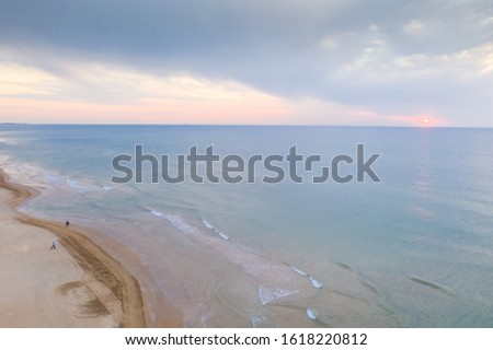 An aerial view of the coastline, on a wintry day with pastel colors Stock photo ©