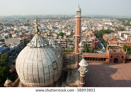 An aerial view of the Jama Masjid, Delhi, India