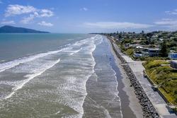 An aerial view of the Kapiti coastline near the towns of Raumati and Paekakariki in New Zealand