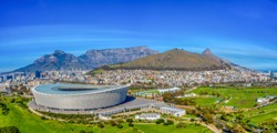 An aerial view of the legislative capital of South Africa, the scenic Cape Town