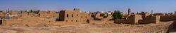 An aerial view of the mud brick suburbs from the Munikh Castle, Al Majmaah, Saudi Arabia