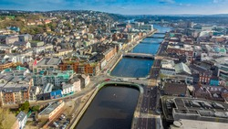 An aerial view of the North Quays of Cork city, Ireland.