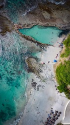 An aerial view of the Pacific coast of Riviera Nayarit in Mexico