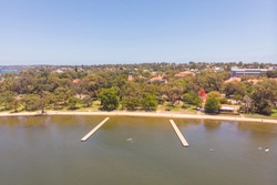 An aerial view of the rafts at Matilda Bay in Perth, Western Australia.