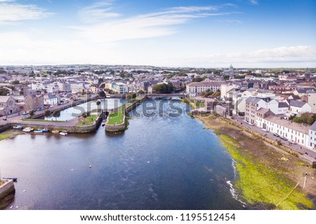 An aerial view of the River Corrib, the Claddagh Basin and the street known as The Long Walk in Galway, Ireland.