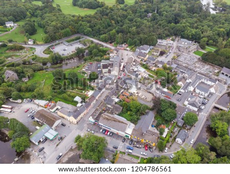 An aerial view of  the village of Cong, straddling the County Galway and County Mayo borders in Ireland.