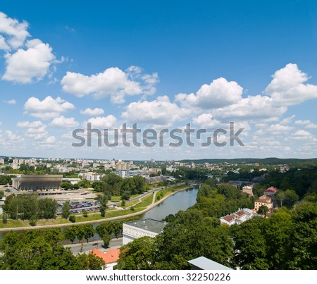 An aerial view of Vilnius, capital of Lithuania