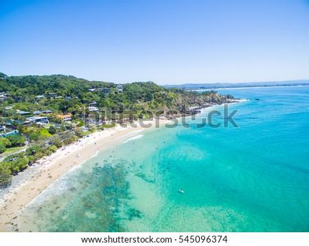 An Aerial view of Wategoes beach in Byron Bay, NSW #545096374