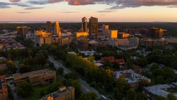an aerial view of White Plains New York at sunset look up on the horizon for Manhattan