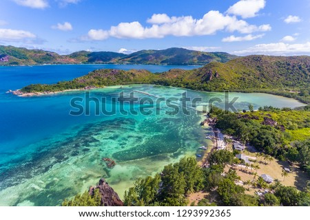 An aerial view on the small Curieuse island, Seychelles Stock photo ©