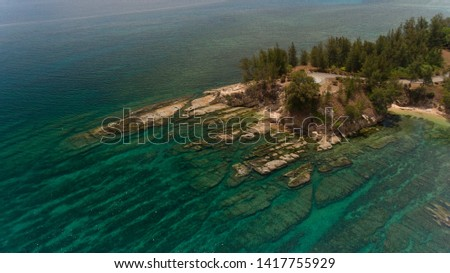 An aerial view the Tip of Borneo,Kudat,Sabah,Malaysia. This place has uniqueness and beauty like a clean beach and coral stones.