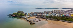An aerial view towards Castle Hill and the town of Tenby, South Wales in springtime