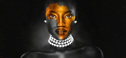 an africa symbol image on the beautiful african face of a young