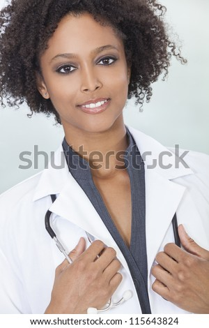 An African American female medical doctor with a stethoscope in hospital