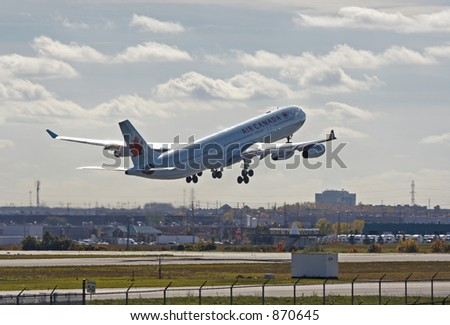 An Air Canada airliner taking off.