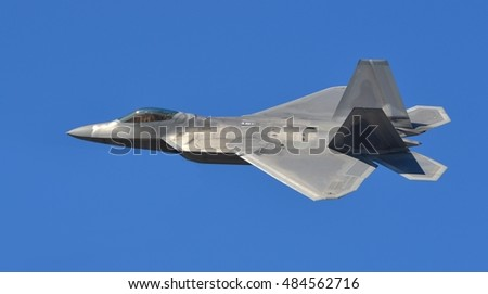An Air Force F-22 Raptor flying a sortie.