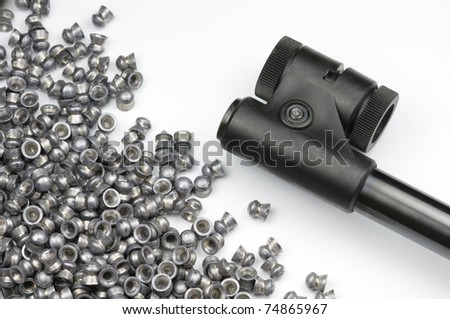 An Air Rifle barrel and a selection of pellets