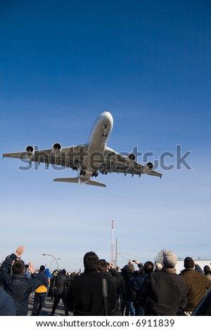 An Airbus A380 on final approach near Montreal Airport.