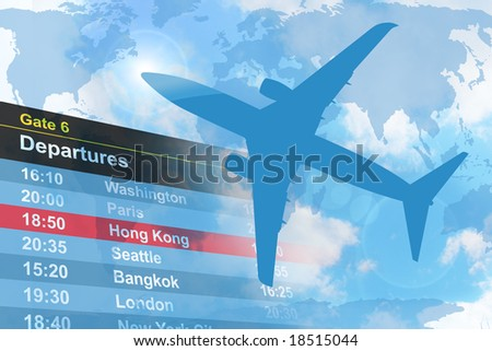 An airplane is flying in the sky with a  departure list in the background.