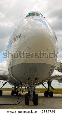 an airplane is standing on the runway ready to go